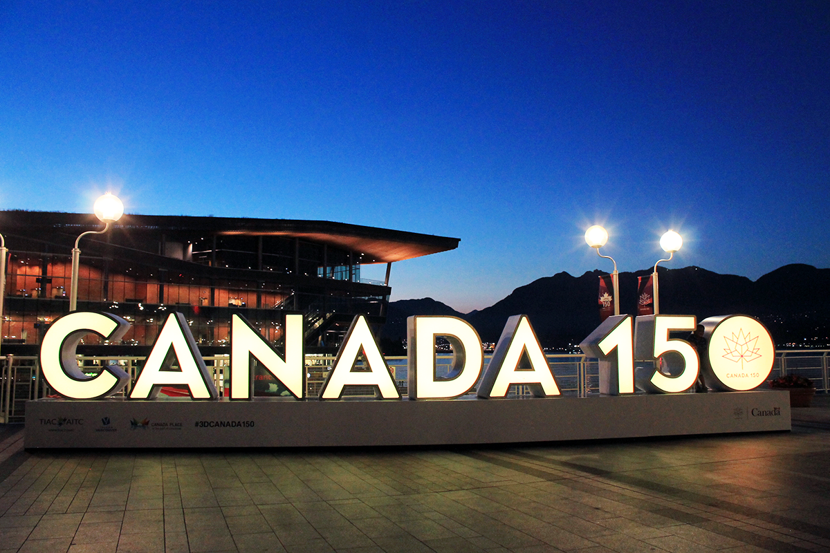 Canada 150 by night vancouver